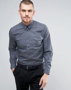 Узкая рубашка с принтом Selected Homme - Темно-синий