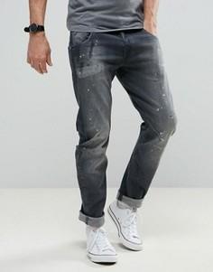 Узкие выбеленные джинсы с брызгами краски G-Star Arc 3D - Серый
