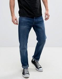 Узкие потертые джинсы G-Star 3301 - Синий