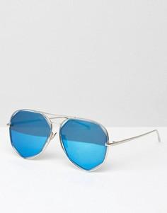 Солнцезащитные очки-авиаторы с бирюзовыми стеклами AJ Morgan - Серебряный