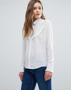 Рубашка с рюшами New Look - Белый