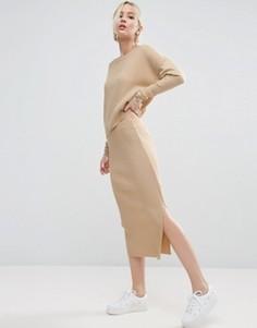Комбинируемая трикотажная юбка миди ASOS - Stone