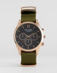 Часы-хронограф с оливковым парусиновым ремешком Reclaimed Vintage - Зеленый