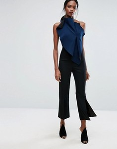 Укороченные строгие брюки с легким клешем и разрезом AQ/AQ - Черный
