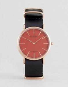 Часы с кожаным ремешком и розовым циферблатом Reclaimed Vintage - Черный