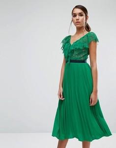 Платье миди с плиссированной юбкой и рюшами Three Floor - Зеленый