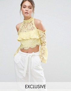 Кружевная блузка с открытыми плечами Dark Pink - Желтый