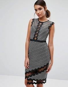 Платье-футляр миди с контрастным кружевом и окантовкой Three Floor - Мульти