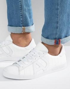 Белые кроссовки с тисненым рисунком крокодиловой кожи Armani Jeans - Белый