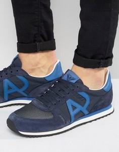 Темно-синие кроссовки с логотипом Armani Jeans Runner - Темно-синий