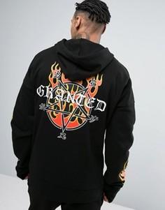 Oversize-худи черного цвета с пламенем Granted - Черный