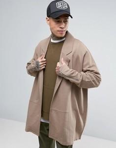 Супердлинное легкое трикотажное пальто с молниями на манжетах ASOS - Бежевый