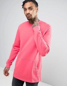 Длинный розовый свитшот с карманом-кенгуру ASOS - Розовый