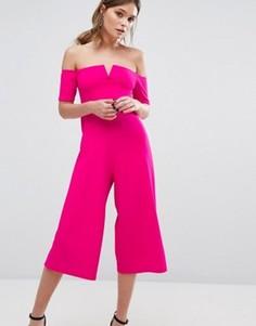 Комбинезон с кюлотами и вырезом лодочкой New Look - Розовый