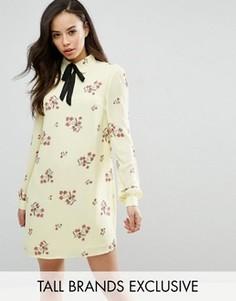 Цельнокройное платье с длинными рукавами и цветочным принтом Fashion Union Tall - Мульти