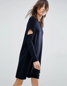 Вязаное платье с вырезами и рукавами в рубчик ASOS - Темно-синий