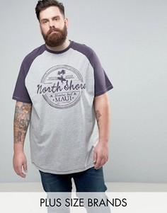 Серая футболка с рукавами реглан и принтом Duke PLUS - Серый