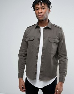 Рубашка навыпуск в стиле милитари ASOS - Зеленый