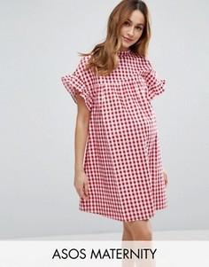 Красное свободное платье в клеточку ASOS Maternity - Красный