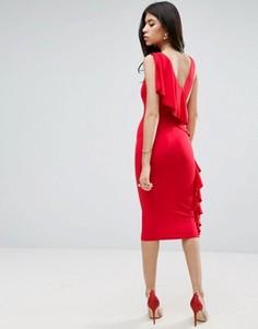 Платье миди с глубоким вырезом и рюшами на спине ASOS - Красный