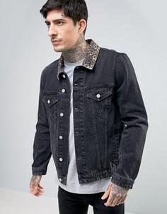 Черная джинсовая куртка с леопардовым принтом на воротнике ASOS - Черный