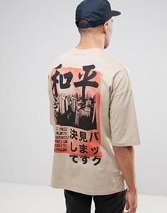 Свободная футболка с принтом на спине и рукавами до локтя ASOS - Рыжий