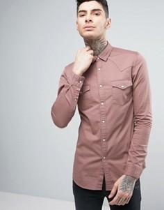Розовая приталенная джинсовая рубашка в стиле вестерн ASOS - Розовый