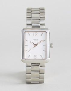 Серебристые часы с квадратным циферблатом Fossil - Серебряный