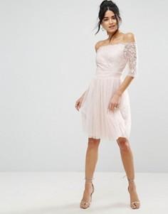 Платье для выпускного с широким вырезом и пайетками Little Mistress - Бежевый