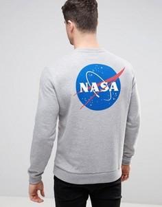 Серый меланжевый свитшот с принтом Nasa ASOS - Серый
