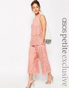 Кружевная юбка-шорты премиум ASOS PETITE OCCASION - Розовый