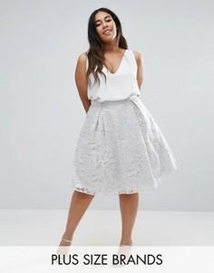 Пышная юбка миди для выпускного с пайетками в стиле барокко Chi Chi London Plus - Серый