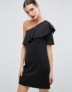 Платье мини на одно плечо с асимметричной оборкой ASOS - Черный