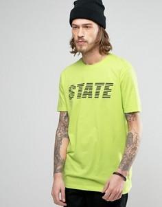 Длинная футболка с принтом State ASOS - Зеленый