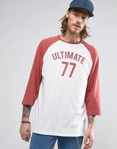 Свободная футболка с рукавами реглан 3/4 и принтом Ultimate ASOS - Белый