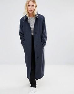 Темно-синее легкое шерстяное пальто Cooper & Stollbrand - Темно-синий