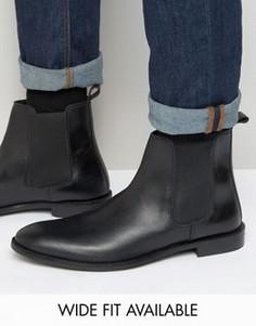 Кожаные ботинки челси ASOS - Доступна модель для широкой стопы - Черный