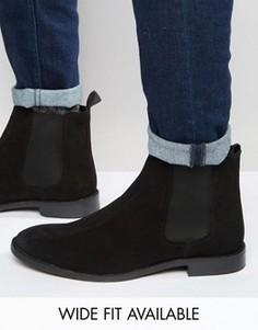 Замшевые ботинки-челси ASOS - Доступна модель для широкой стопы - Черный