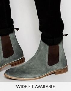 Серые замшевые ботинки челси ASOS - Доступна модель для широкой стопы - Серый