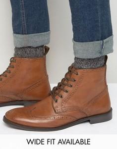 Светло-коричневые кожаные броги ASOS - Доступна модель для широкой стопы - Рыжий