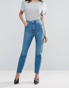 Ярко-голубые узкие джинсы в винтажном стиле с завышенной талией ASOS FARLEIGH - Синий