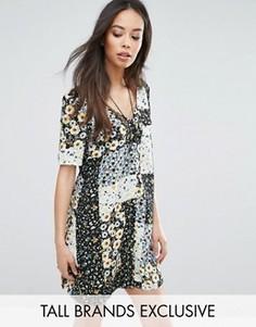 Чайное платье на пуговицах с цветочным принтом в стиле пэтчворк Glamorous Tall - Мульти