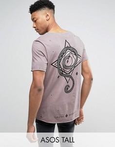 Длинная футболка с принтом на спине и рваной отделкой ASOS TALL - Красный