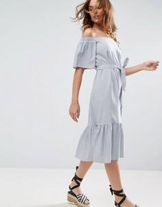 Хлопковое платье миди в полоску с открытыми плечами ASOS - Мульти