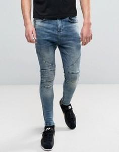Выбеленные синие джинсы скинни с молниями и заниженным шаговым швом Religion - Синий