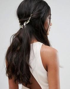 Украшение для волос с золотистыми листьями и стразами Johnny Loves Rosie Bridal Range - Золотой