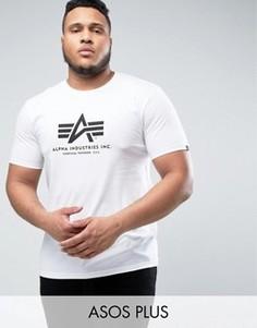 Белая футболка классического кроя с логотипом Alpha Industries PLUS - Белый