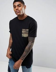 Длинная футболка с карманом камуфляжной расцветки ASOS - Черный