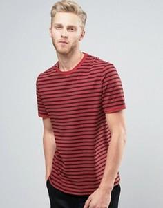 Полосатая футболка с отворотами на рукавах ASOS - Красный