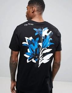 Свободная футболка с цветочным принтом на спине ASOS - Черный